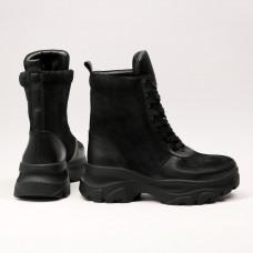 Ботинки со шнуровкой из замши и кожи черного цвета Арт. As-1/247