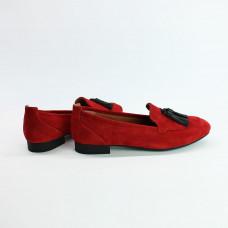 Лоферы из красной замши с декоративными кисточками Арт. 156-1Hill
