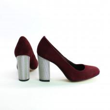 Туфли из замши бордового цвета на серебряном каблуке Арт. 95-1/42Serebro