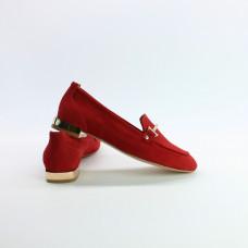 Лоферы из замши красного цвета с фурнитурой Арт. 156-1-2578