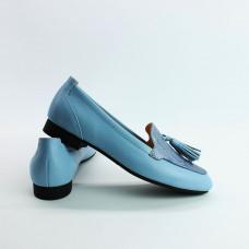 Лоферы из голубой кожи с принтовой вставкой под питон Арт. 156-1Hill