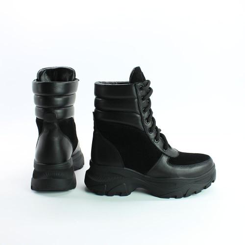 Ботинки со шнуровкой черного цвета со вставками Арт. As-2/247