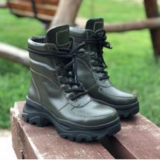 Ботинки со шнуровкой из кожи цвета хаки Арт. As-2/247
