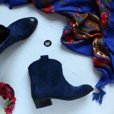 Полусапоги «Казаки» из замши ярко-синего цвета с эффектом потертости Арт. 306-2