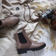 Ботинки Челси из темной-бежевой кожи с замшевой вставкой Арт. 12-1(S2)