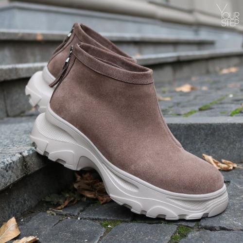 Ботинки из замши цвета капучино  Арт. As-6/247