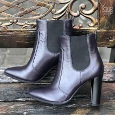 Ботинки из кожи цвета баклажан на каблуке Арт. 35-14/32