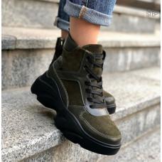Ботинки со шнуровкой из замши и кожи цвета хаки  Арт. As-5/21968