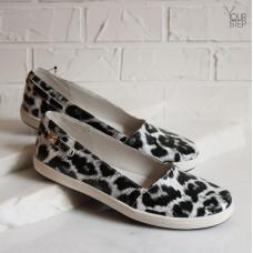 Мокасины из принтовой кожи цвета белый леопард  Арт. 05-7L