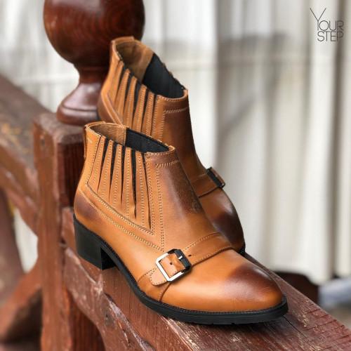 Ботинки на резинках из натуральной кожи рыжего цвета с эффектом потертости Арт. 306-1
