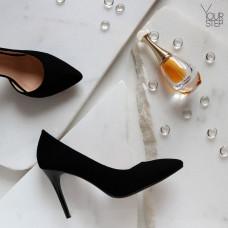 Туфли на шпильке из черного велюра Арт. 35-5