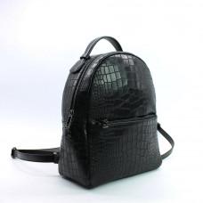 Рюкзак из черной кожи под рептилию Арт. YS-2523