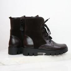 Ботинки из кожи и замши цвета шоколад со шнуровкой на тракторной подошве Арт. 12-6(S2)