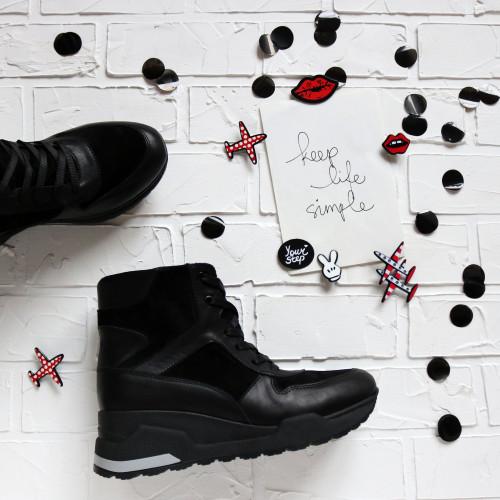 Ботинки из кожи и замши черного цвета Арт. As-5/21881