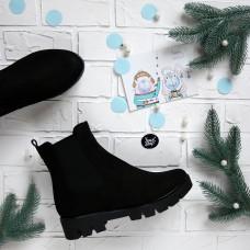 Ботинки Челси из черного нубука на тракторной подошве Арт. 12-1(S2)