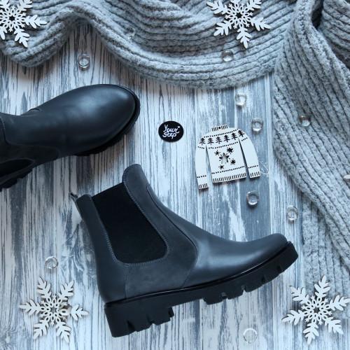 Ботинки Челси из замши и кожи серого цвета Арт. 12-1(S2)