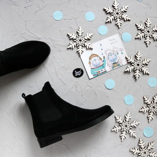 Ботинки челси из черного нубука 12-1V