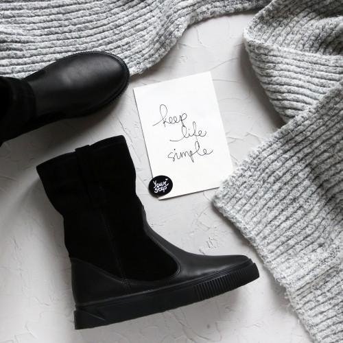 Ботинки из кожи и замши черного цвета Арт. 12-2/21852