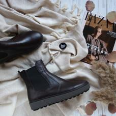Ботинки из кожи цвета шоколад 12-1(Ls6)