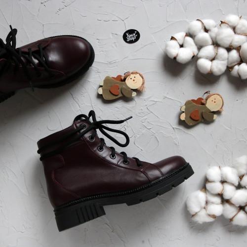 Ботинки со шнуровкой из кожи цвета бордо Арт. 51-3/21855