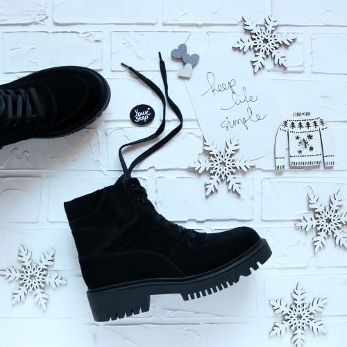 Ботинки со шнуровкой из замши черного цвета Арт. As-5/21855