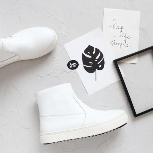 Ботинки из белой кожи Арт. 218-2/21613-б/ф