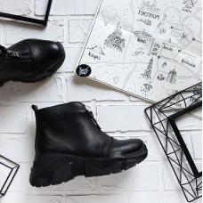Ботинки из черной кожи с молнией спереди Арт. As-7/21950