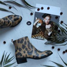 Ботинки из кожи с принтом под ягуар Арт. 306-4