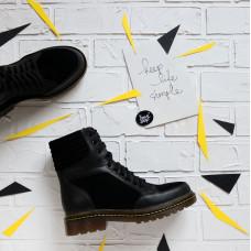 Ботинки со шнуровкой из черной замши и кожи Арт. 05-12/(As11)