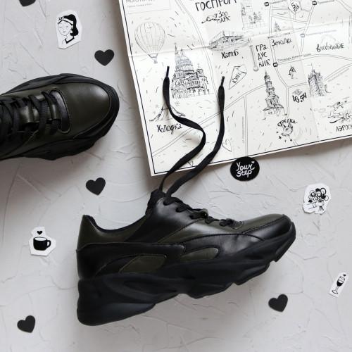 Кроссовки из кожи цвета хаки со вставками  Арт. Kr-2/188