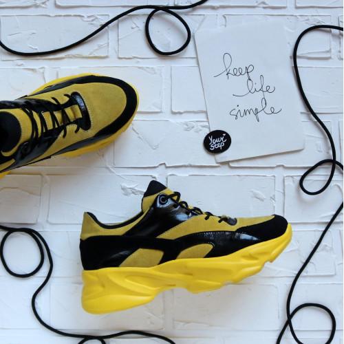Кроссовки из замши желтого цвета со вставками  Арт. Kr-2/188