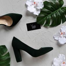 Туфли из замши темно-зеленого цвета Арт. 35-5/24Ок