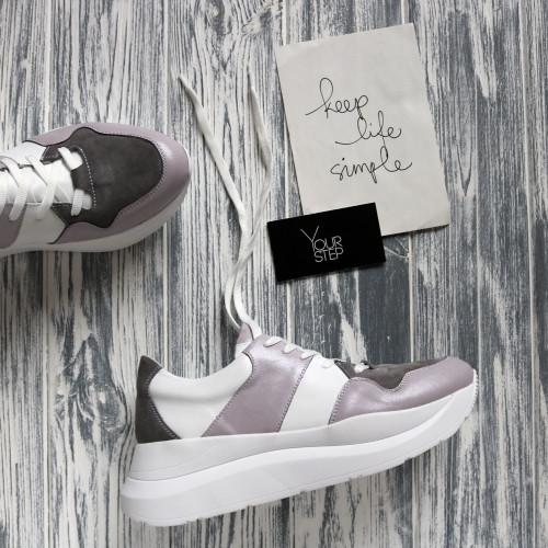 Кроссовки из кожи лилового цвета со вставками Арт. Kr-3/21970