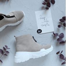 Ботинки из бежевой замши с молнией спереди Арт. As-7/21950