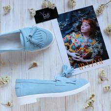 Лоферы с декоративными кисточками из бледно-голубой замши Арт. 05-15(Ms)