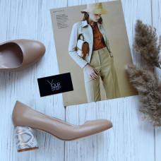 Туфли из карамельной кожи на обтяжном каблуке Арт. 605-4/45Ок