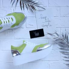 Кроссовки из салатовой замши со вставками Арт. Kr-4/21873