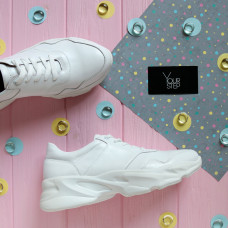 Кроссовки из белой кожи с блестками Арт. Kr-4/188