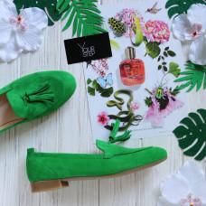 Лоферы из ярко-зеленого велюра с декоративными кисточками Арт. 156-1Hill