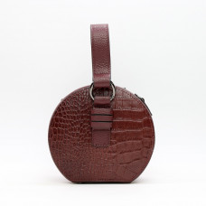 Cумка круглой формы из кожи под рептилию цвета бордо  Арт. YS-32301