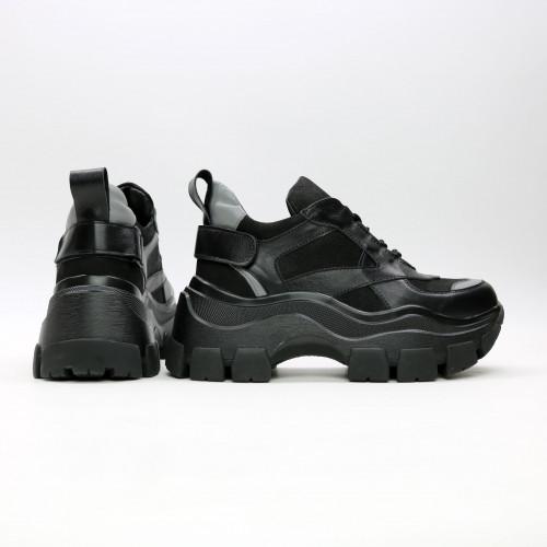 Кроссовки из черной кожи со вставками Арт. As-9/21080