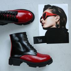 Ботинки из красного ската и матового лака черного цвета Арт. As-8/21074