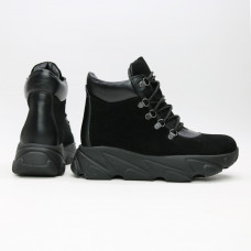 Ботинки со шнуровкой из замши и кожи черного цвета Арт. As-3/181