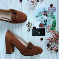 Туфли из замши рыжего цвета на обтяжном каблуке Арт. 853-5/48Ок