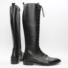 Высокие сапоги со шнуровкой из черной кожи Арт. 104-4