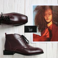 Ботинки из бордовой кожи с квадратным носиком Арт. 105-1