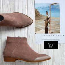 Ботинки из велюра оттенка капучино с острым носиком Арт. 104-2