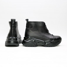 Ботинки из черной кожи с молнией спереди Арт. As-7/21098