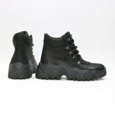 Ботинки со шнуровкой из черного нубука  Арт. As-3/25