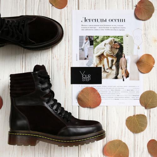 Ботинки со шнуровкой из кожи и замши цвета шоколад  Арт. 05-12/(As11)